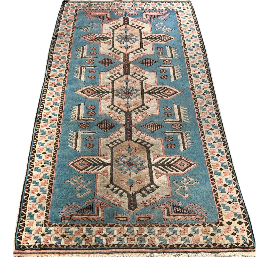 R29: Vintage Light Blue Caucasian Area Rug 3'6
