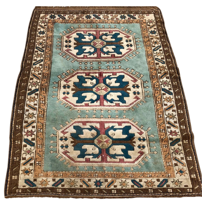 R33: Vintage Seagrass Colored Caucasian Area Rug 4' x 5'4