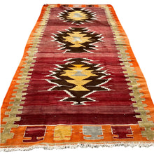 "Load image into Gallery viewer, R35: Vintage Handmade Kilim in Bright Colors 5'1"" x 10'4"""