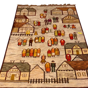 R64: A Beautiful Handwoven Rug of a Village Scene