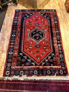 "R73: Vintage Handmade Oriental Rug with Animal and Spider Motifs Throughout 4'1"" x 6'5"""