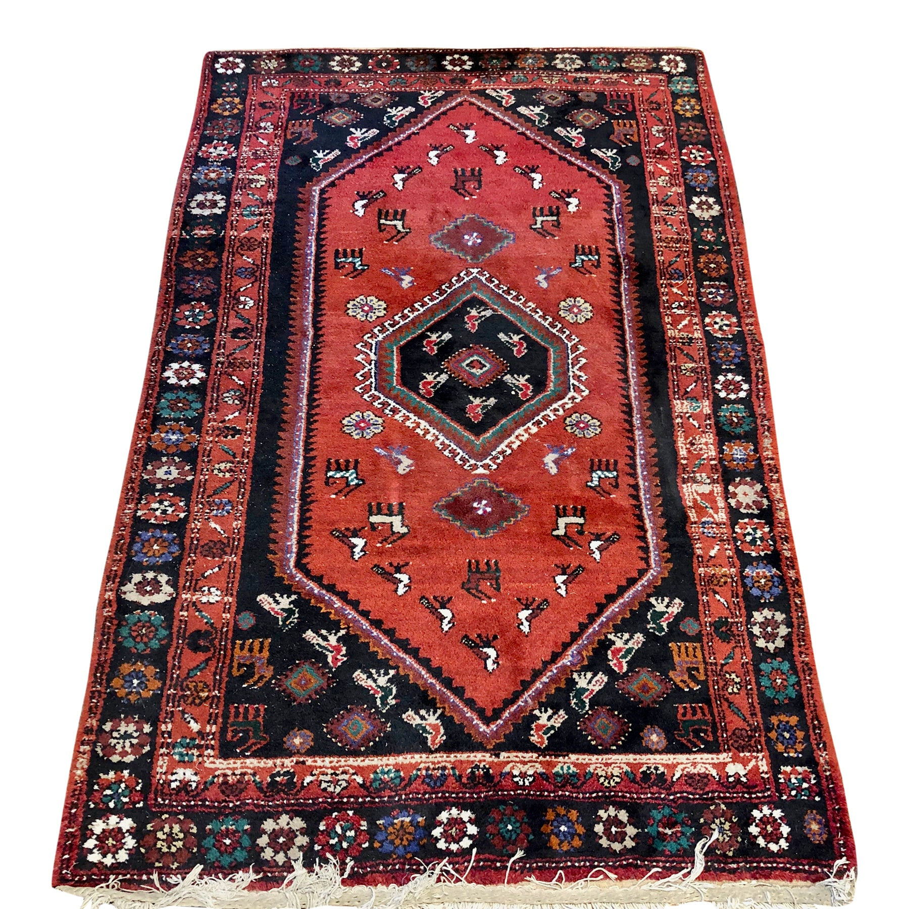 R73: Vintage Handmade Oriental Rug with Animal and Spider Motifs Throughout 4'1