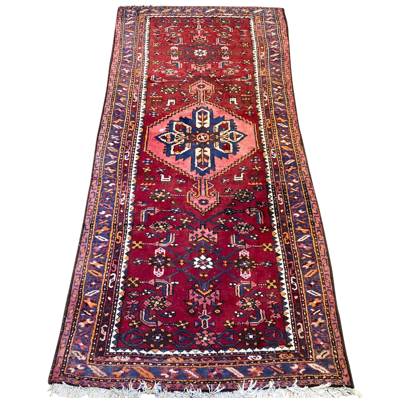 R75: Vintage Handmade Wool Area Rug Most Likely from a Tribal Region 3'4