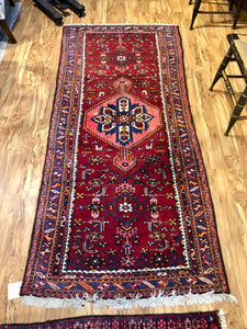 "R75: Vintage Handmade Wool Area Rug Most Likely from a Tribal Region 3'4"" x 7'2"""