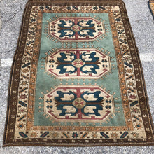 Load image into Gallery viewer, R33: Vintage Seagrass Colored Caucasian Area Rug 4' x 5'4""