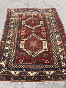 "R123: antique kazak area rug wear to one side great colors 5'5"" x 7'7"""