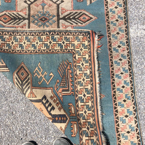 "R29: Vintage Light Blue Caucasian Area Rug 3'6"" x 6'"