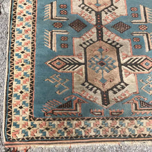 "Load image into Gallery viewer, R29: Vintage Light Blue Caucasian Area Rug 3'6"" x 6'"