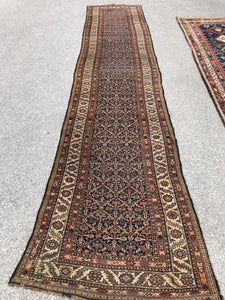 "R128: antique Hamadan earthy colors great condition 3'5"" x 16'4"""
