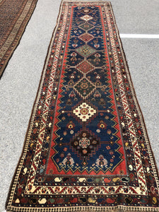 "R129: antique handmade oriental runner Persian origin great colors even wear 3'8"" x 13'7"""
