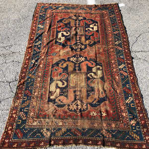 "R218: antique wool kazak rug with wear 4'2"" x 7'2"""