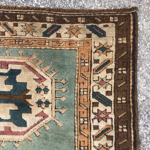 R33: Vintage Seagrass Colored Caucasian Area Rug 4' x 5'4""