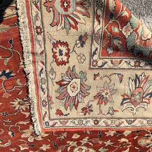"R13: Handmade Red Field Oushak Style Oriental Rug 9'9"" x 11'3"""
