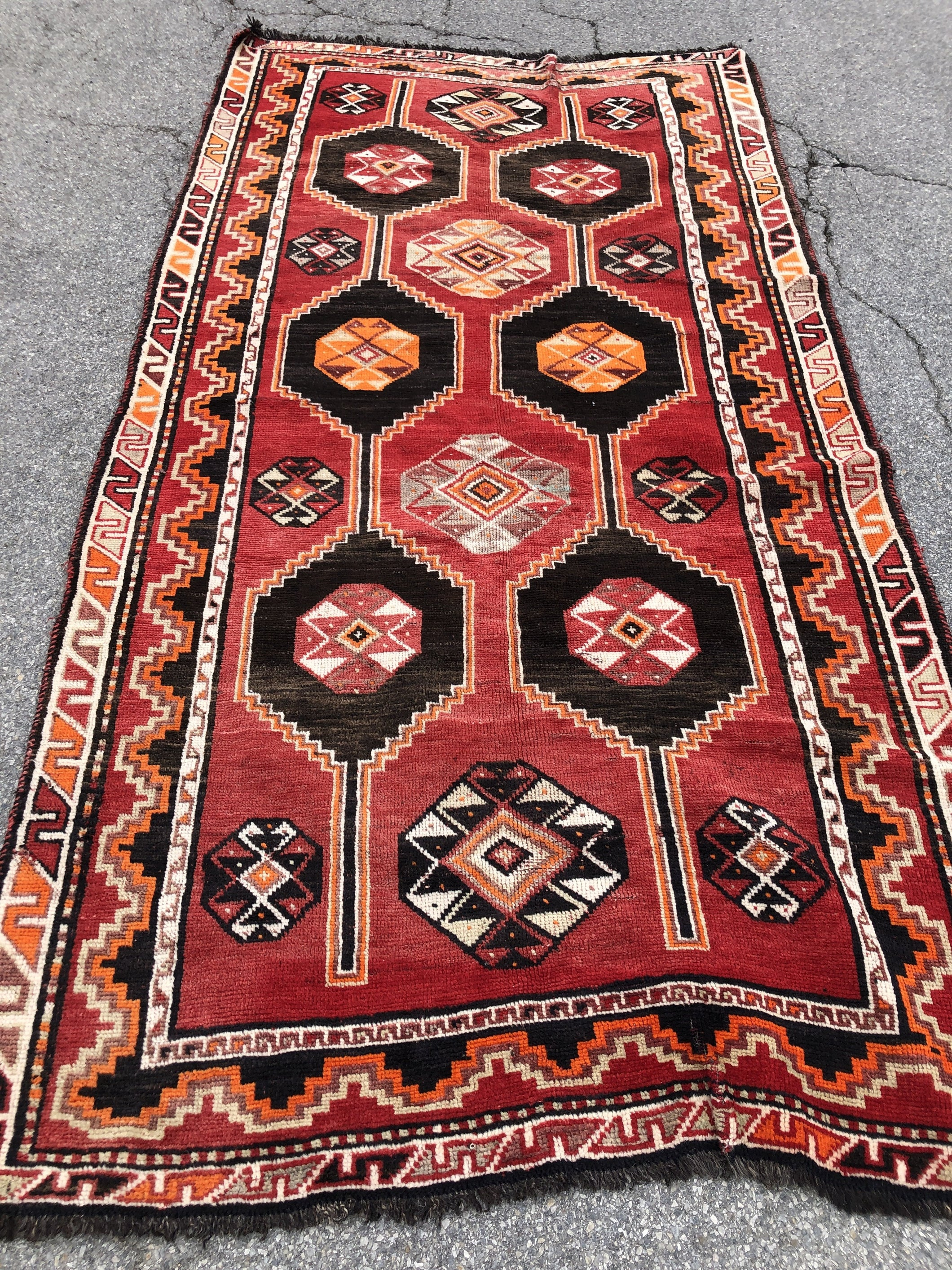 "R130: handmade wool Turkish tribal pattern rug 4'11"" x 9'7"""