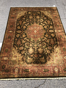 "R182: handmade wool indian oriental rug in earthy tones 6' x 8'10"" pad included"