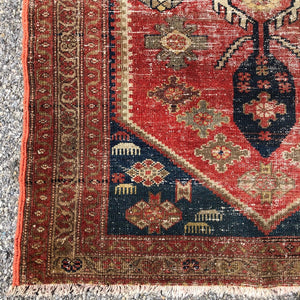 "R23: Antique Oriental Runner with Nice Even Wear 3'3""x 6'9"""