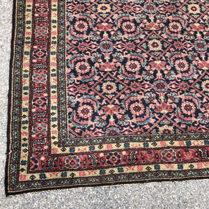 "R30: Antique Oriental Wide Runner Possibly a Hamadan 4'8"" x 11'4"""