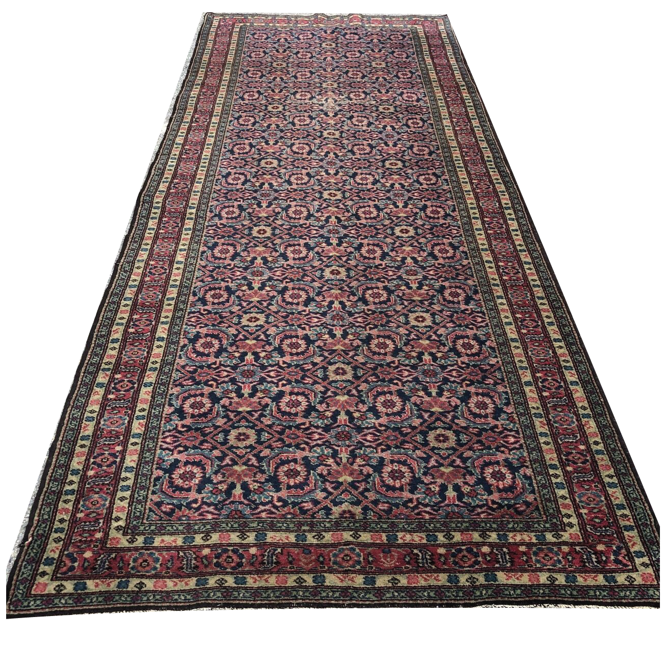 R30: Antique Oriental Wide Runner Possibly a Hamadan 4'8