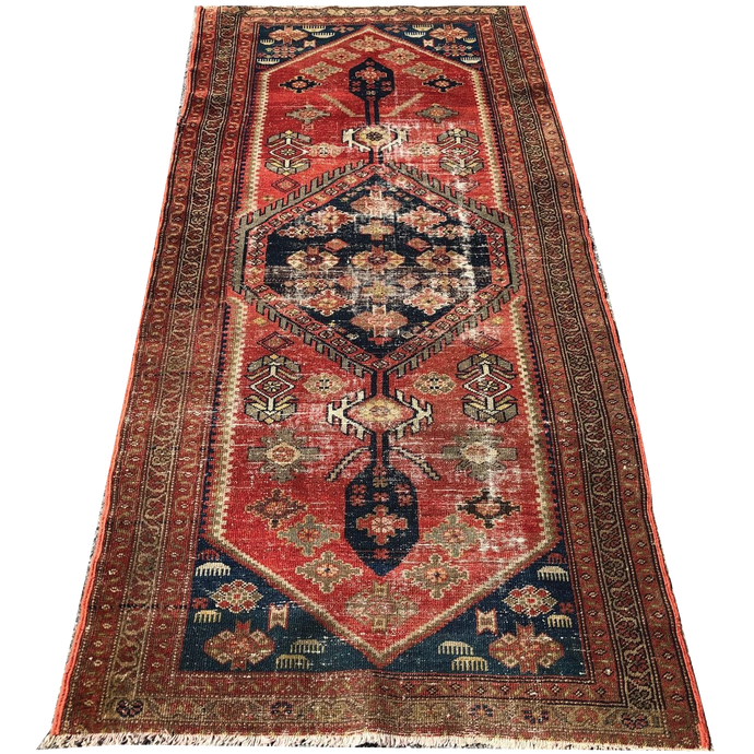 R23: Antique Oriental Runner with Nice Even Wear 3'3