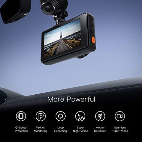 SD Card Included Front and Rear Camera for Cars FHD 1080P 170/°Wide Angle Loop Recording G-Sensor Night Vision Motion Detection WDR Support GPS Parking Monitor IPS Screen APEMAN Dash Cam