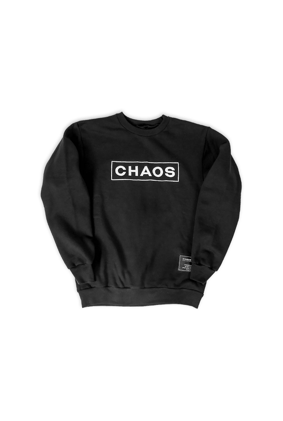 Chaos Embroidered Black Crew Pullover