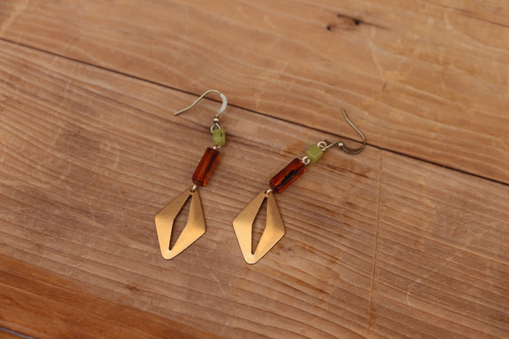 Brass cats eye dangle earrings in amber and green
