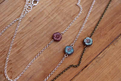 Dainty, colorful small flower layering necklace with adjustable length