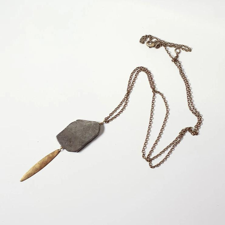 Grey and gold stone necklace