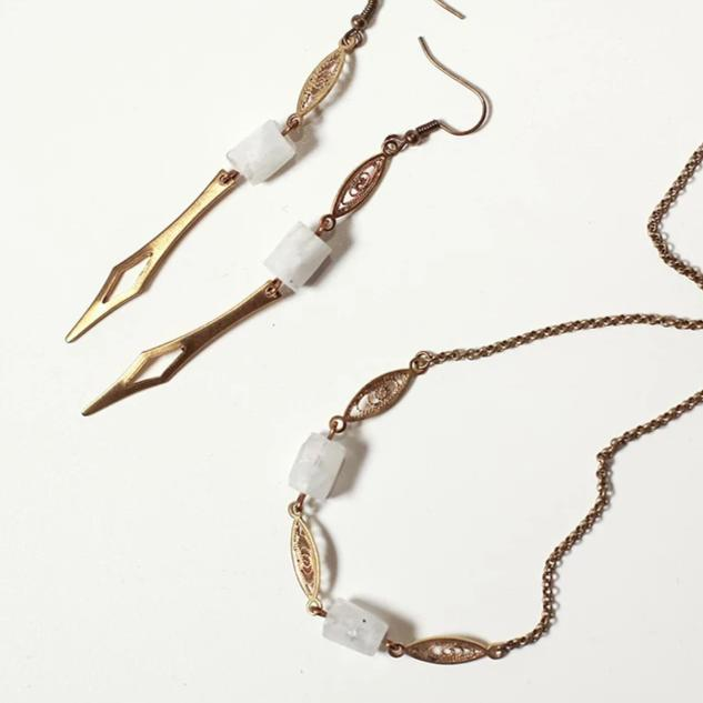 Spikes and Lace Brass and Moonstone Earring, necklace or set