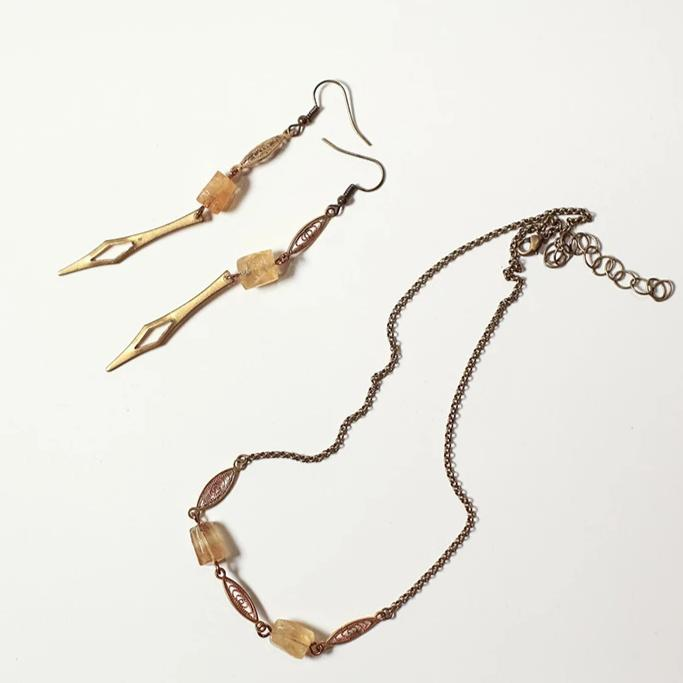 Citrine spikes and lace