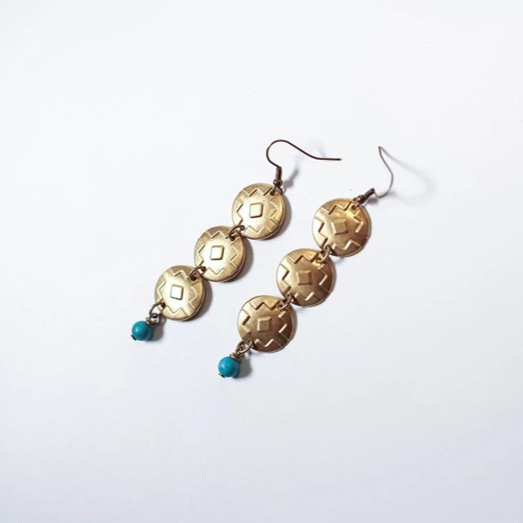 Southwest Statement; brass and turquoise earrings