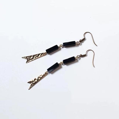 Brassy Gold Arrow Black Stone Earrings