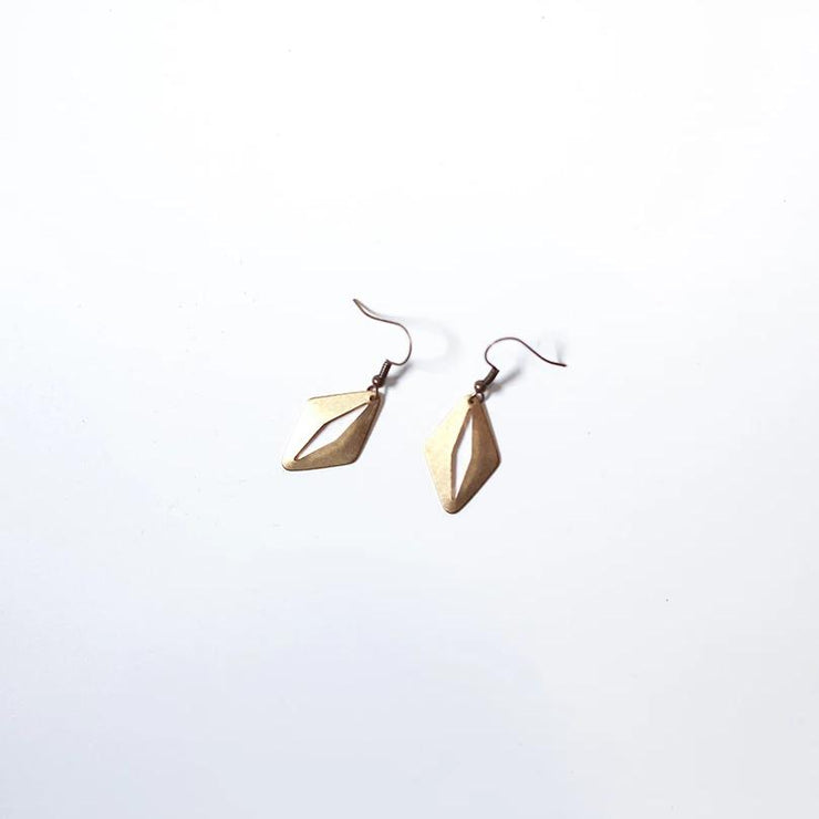 Brass Cats Eye Earrings