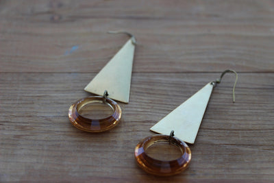 Brass Triangle and Gold Statement Earrings