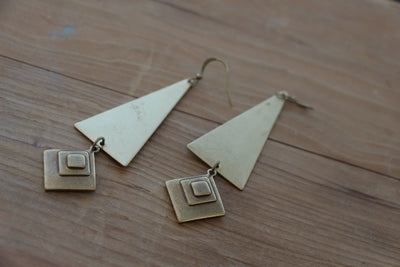 brass triangle and layered diamond statement earrings