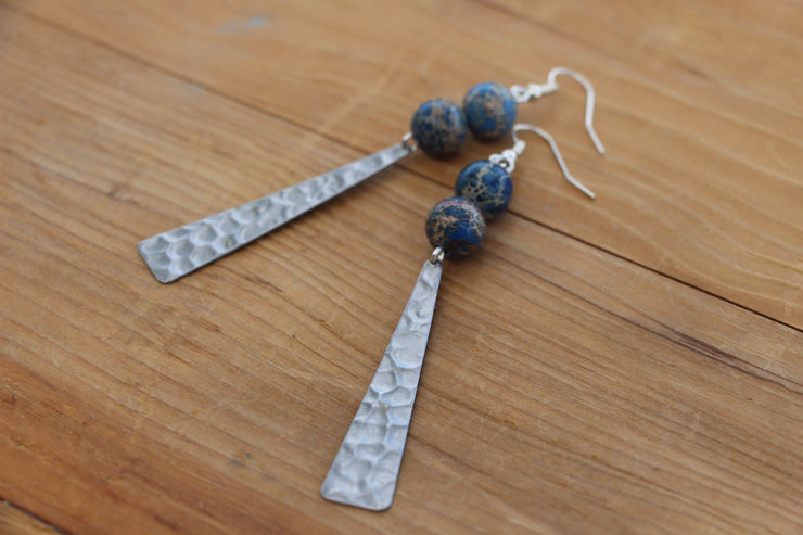 Blue jasper and silver rippled triangle dangle, statement earrings