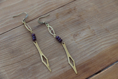 art deco inspired Brass Filigree and garnet dangle earrings