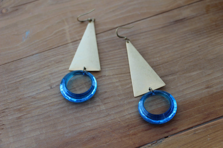 Brass and blue triangle statement earrings