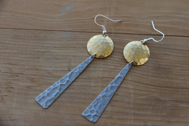 Circle and Triangle dangle earrings, geometric statement dangle earrings in brass and silver