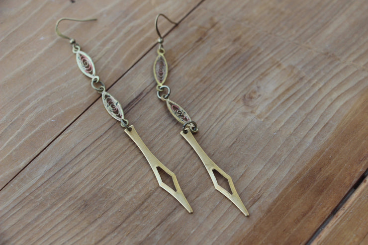 Art Deco inspired brass filigree and spike shoulder duster dangle statement earrings.