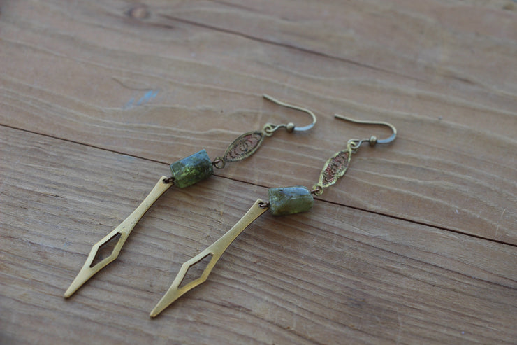 Art Deco inspired spiked earrings, with natural green garnet and vintage brass filigree