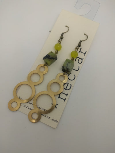 Bubble brass and green natural Stone statement earrings