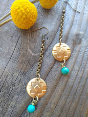 Southwest disc and dangle earrings with turquoise dangle drop earrings in vintage brass and chain