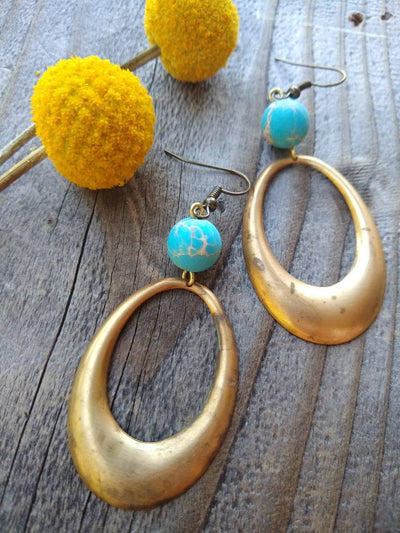 Vintage brass hoops and ocean jasper bead dangle earrings in teal blue and aged brass