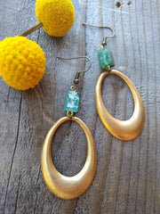 Vintage brass oval hoops and Roman glass, rustic and retro dangle earrings