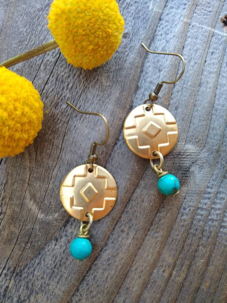 Petite southwest mini dangle earrings with round turquoises bead accents