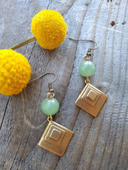 Brass diamond and Jade bead earring, deco brass shapes with light green Jade dangle earrings