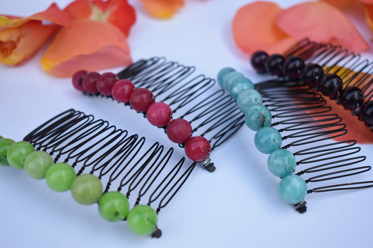 colorful beaded hair combs