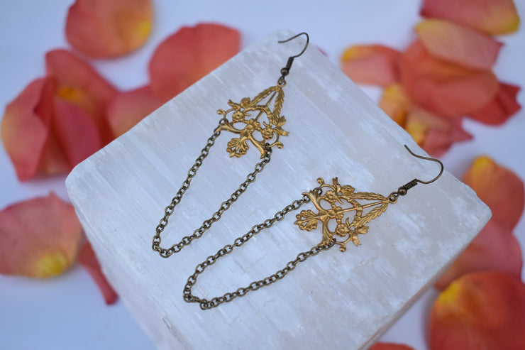 brass floral chandelier style dangle chain earrings