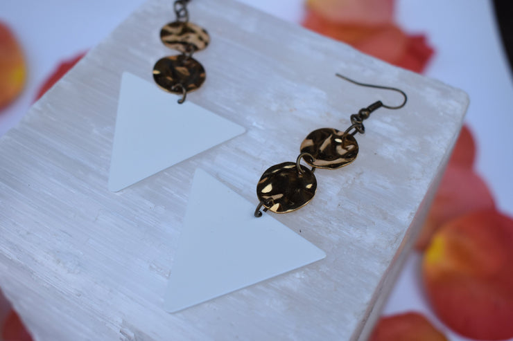 White and gold geometric statement earrings, enameled triangle dangle earrings